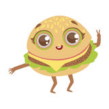 Burger Sandwich Cute Anime Humanized Cartoon Food Character Emoji Vector Illustration Stock Photography