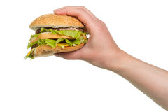 Burger sandwich in hand Stock Image