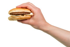 Burger sandwich in hand Royalty Free Stock Photo