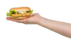 Burger sandwich in hand Stock Photo