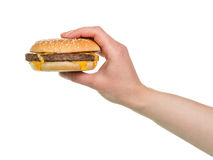Burger sandwich in hand Stock Photos