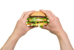 Burger sandwich in hands Royalty Free Stock Photography