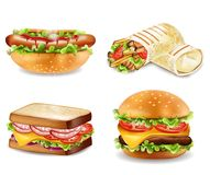 Burger, sandwich, hot dog and wrap Vector. Realistic set collections. Burger, sandwich, hot dog and wrap Vector isolated. Realistic set collection royalty free illustration
