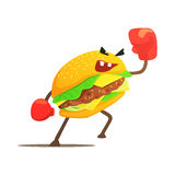 Burger-Sandwich-Kasten-Kämpfer in den Handschuhen, Schnellimbiss-Schlechtes Guy Cartoon Character Fighting Illustration Stockfotos