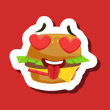 Burger Sandwich In Love With Hearts In Eyes, Cute Emoji Sticker On Red Background. Humanized Fast Food Character Isolated Icon In Colorful Cartoon Design stock illustration