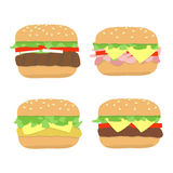 Burger sandwich set stock illustration