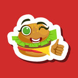 Burger Sandwich Showing Thumbs Up, Cute Emoji Sticker On Red Background Stock Photo
