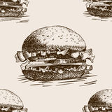 Burger sandwich sketch seamless pattern vector Royalty Free Stock Images