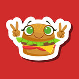 Burger Sandwich Smiling Showing Peace Gesture, Cute Emoji Sticker On Red Background. Humanized Fast Food Character Isolated Icon In Colorful Cartoon Design Stock Photos