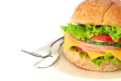 Burger sandwiches bread with bacon , ham and cheese with vegetab Royalty Free Stock Photography