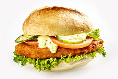 Burger with schnitzel stock photography