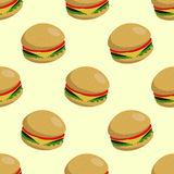 Burger seamless background. Appetizing  seamless background with burgers Royalty Free Stock Image