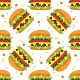 Burger seamless pattern Stock Images