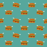 Burger seamless pattern. Stock Image
