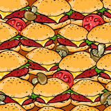 Burger seamless pattern Royalty Free Stock Photography