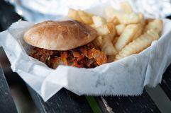 Burger Served on White Fabric Textile Stock Images