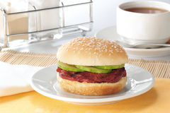 Burger set. Delicious meaty fast food burger stock photography