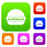 Burger set color collection Royalty Free Stock Photos