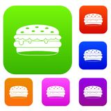 Burger set color collection Royalty Free Stock Image