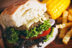 Burger Set Lunch Stock Photo