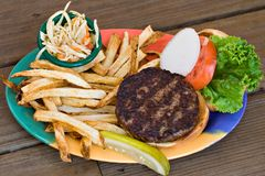 Burger, Slaw and Fries Royalty Free Stock Image