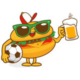 Burger soccer beer character Stock Image