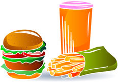Burger, soda drinks and french fries Stock Photos