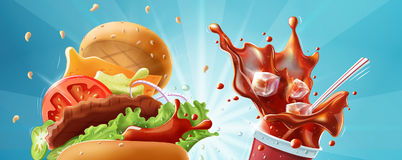 Burger and soda. Fast food header banner template Stock Photo