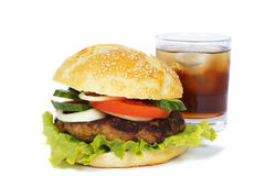 Burger and soda glass Stock Photo