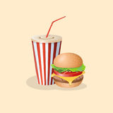Burger and soda in a paper cup Royalty Free Stock Photography