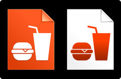 Burger and Soda on Paper Set Stock Photo