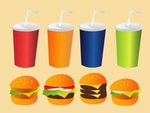 Burger and soda set. Many Burger and soda set Royalty Free Illustration