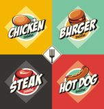 Burger, steak, hot dog and fried chicken signs and banners. Royalty Free Stock Photography