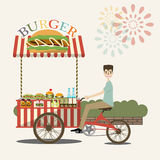 Burger street cart with seller. vector. Background Royalty Free Stock Photography