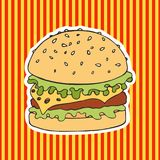 Burger on a striped background. Vector illustration. Hand drawing Stock Photography