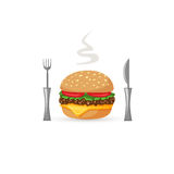 Burger stylized icon with fork and knife Stock Image