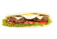 Burger sub. On white background Royalty Free Stock Photo