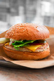 Burger in table in pub selective focus Royalty Free Stock Photo