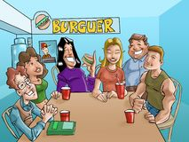 Burger teens. A group of teens eating a burgers and drinking beverages in the fast food stock illustration