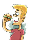 Burger Time. Hungry man is eating a burger Royalty Free Stock Photo