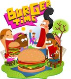 Burger Time. Big Burger Time with friend Royalty Free Stock Image