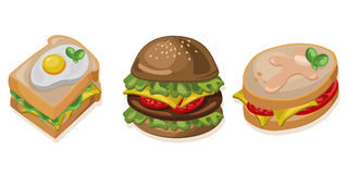Burger, toast and sandwich icon detailed templates Vector illustration Stock Image
