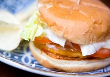 burger with tomato and fresh lettuce Stock Photo