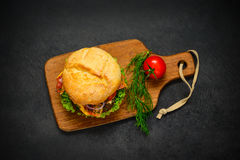 Burger in Top View Royalty Free Stock Images