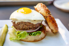 Burger Topped with Fried Egg Stock Photography