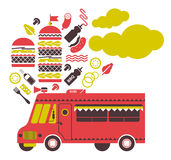 Burger truck illustration. Royalty Free Stock Photo
