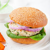 Burger with turkey, spinach, onion, batat Royalty Free Stock Images