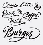 Burger- und Caféhandschriftskalligraphie Lizenzfreie Stockfotos