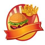 Burger- und Fischrogenaufkleber Stockfotografie