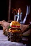Burger und Flaschen Öl und Soße auf dem Hintergrund eines Dekors Stockbilder